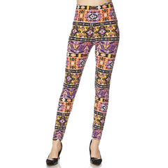 Women's Regular Size Tribal Aztec Print Leggings