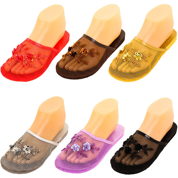 Women's Floral Beaded Mesh Chinese Slippers