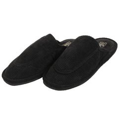 Women's Open Back Corduroy Comfort Slippers-11-Black