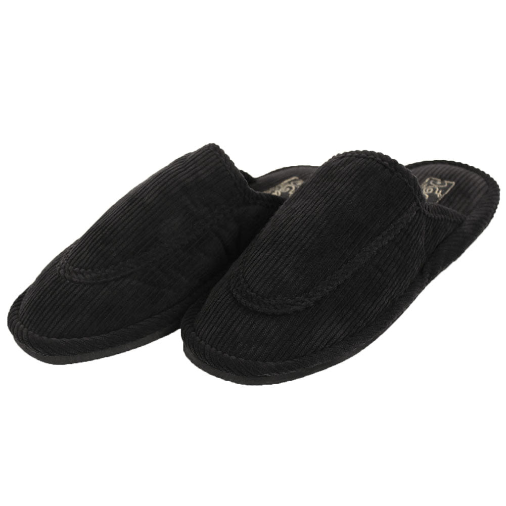 Women's Open Back Corduroy Comfort Slippers-9-Black