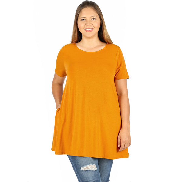 Womens Plus Size Flared Short Sleeve Boat Neck Top with Pockets