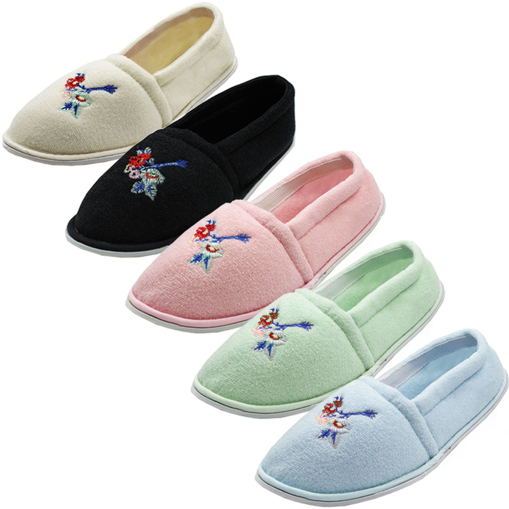 Women's Terry Cloth Slip On House Slippers