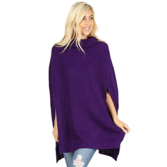 Lavra Women's Solid Knit Turtle Neck Poncho Pullover Cloak Sweater