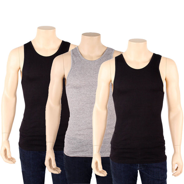 Men's 3 Pack of Black and Gray Tank Top Undershirts