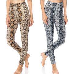 LAVRA Women's High Waist Snake Print Soft Stretch Leggings Pants