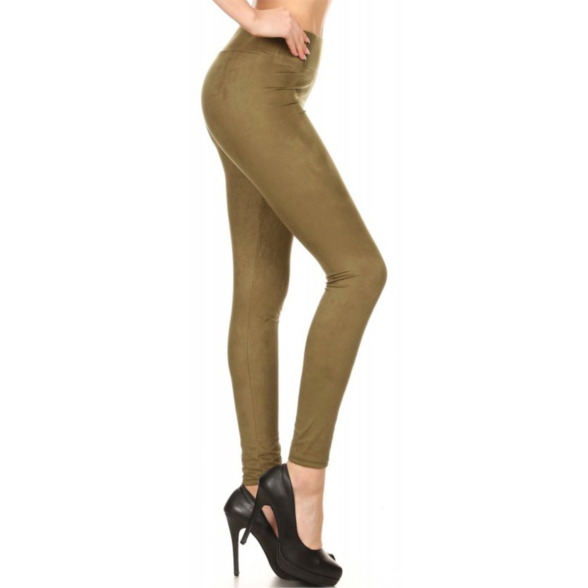 LAVRA Women's Soft Faux Suede Legging High Waist Full Length Solid Pants