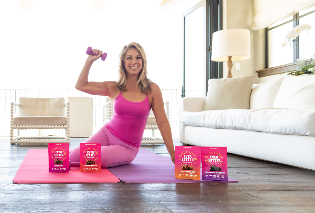 Denise Austin working out at home with her EVER BETTER Protein Bites