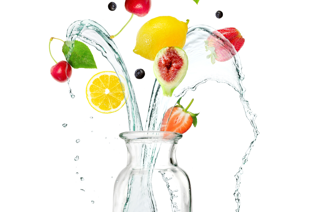 Fresh Fruit with a Glass Pitcher of Water
