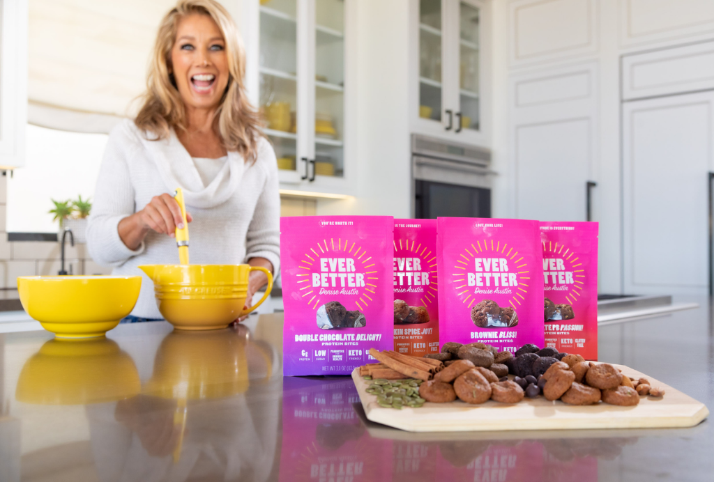 Denise Austin in her kitchen with EVER BETTER Protein Bites