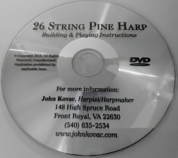 KIT DVD: PINE HARP INSTRUCTION PLANS
