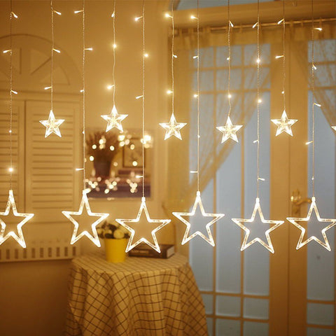12 Stars Curtain Light- WARM WHITE (HIGH QUALITY)
