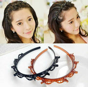 Double layer twist plait hairband-Pack of 2 (brown and black)