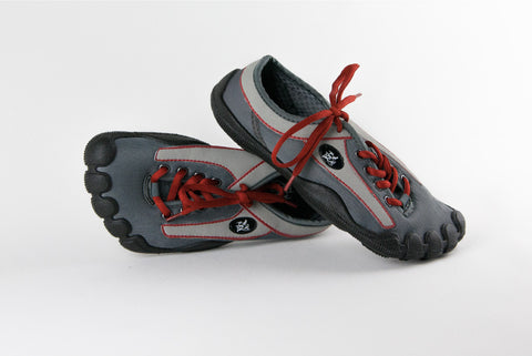 Grey Upper, Red Stitching & Black Sole (M)