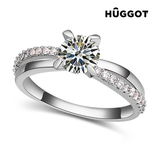 Hûggot You & Me Rhodium-Plated Ring with Zircons