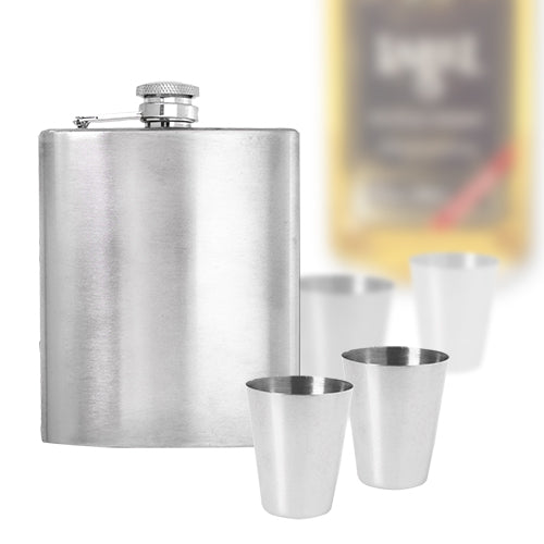 Steel Hip Flask Set with Accessories (7 pieces)