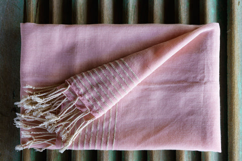 Plain Pink With Border Stripes