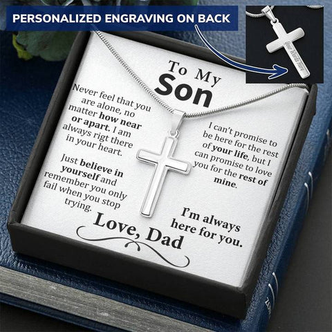 Personalized Cross Necklace - To My Son