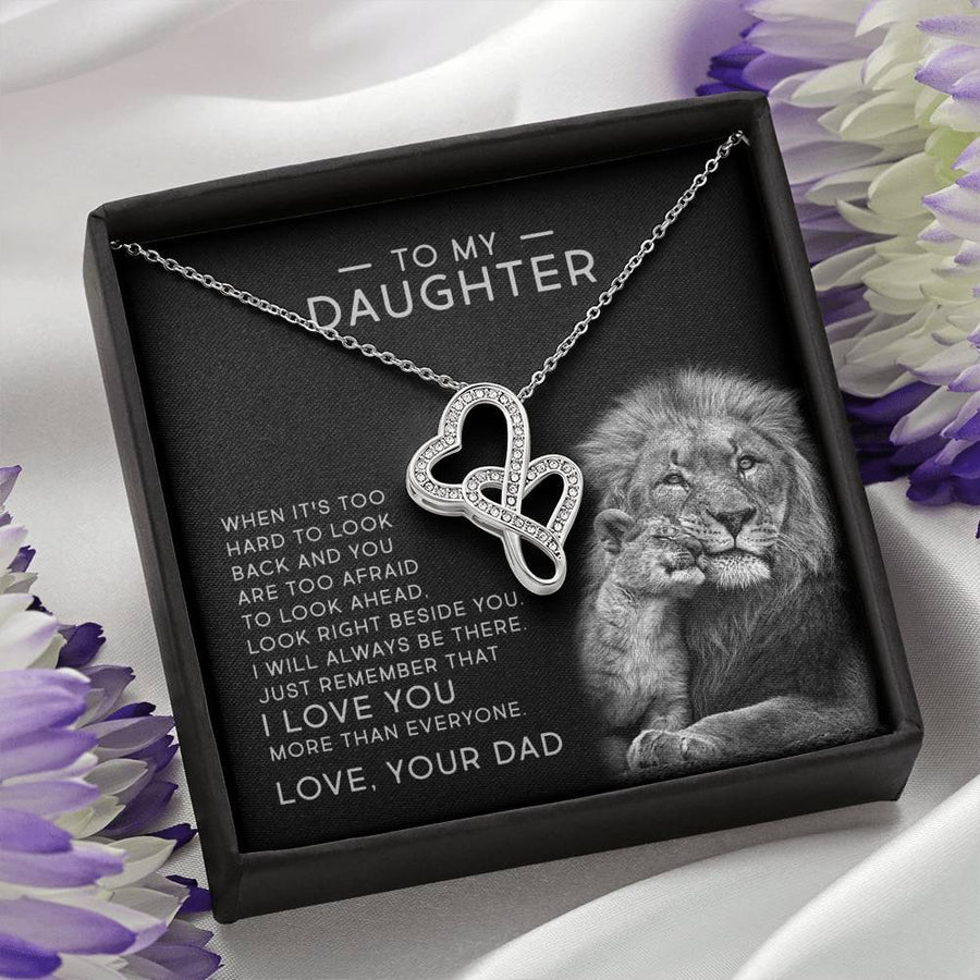 Double Heart Necklace - I Will Always Be There - Total Dads