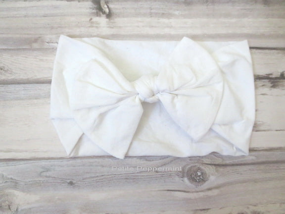 White Bow Nylon Baby Headband