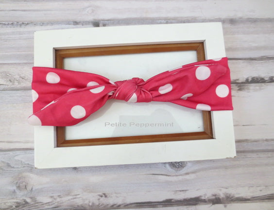 Hot Pink Polka Dot Baby Headband