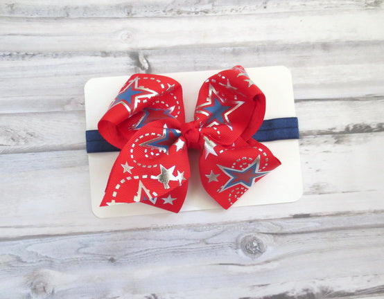 Red Blue Patriotic Bow Headband