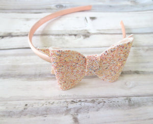 Sparkly Peach Bow Headband