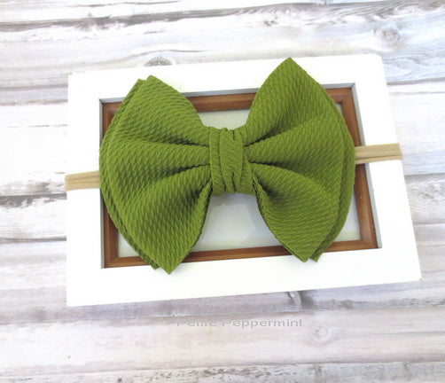 Olive Green Bow Nylon Baby Headband