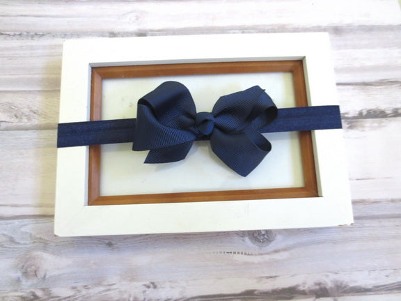 Navy Blue Baby Bow Headband, Girl Hair Bow, Newborn headband, Infant headband, toddler headband, baby hair bow, small baby bow headband