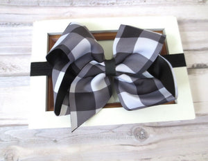 Black Buffalo Plaid Bow Headband