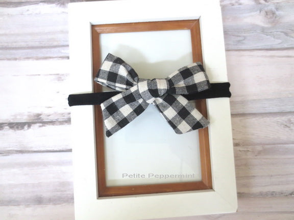 Black Buffalo Plaid Bow Headband or Hair Clip