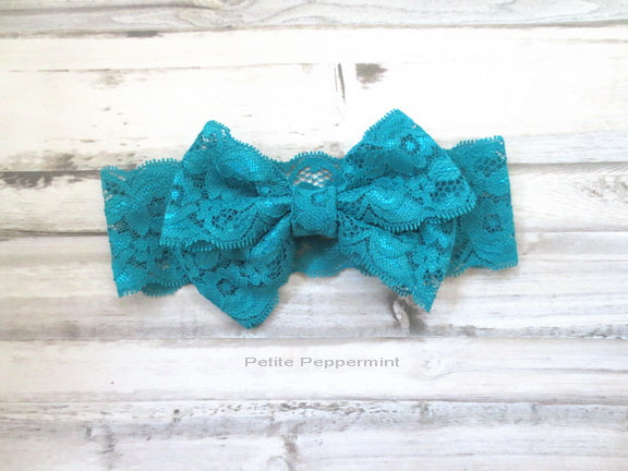 Teal Bow Lace Headband