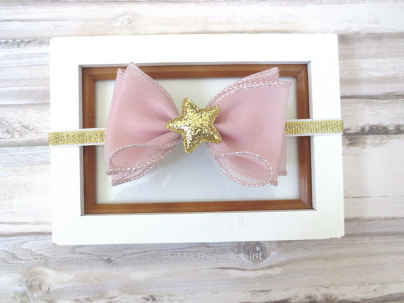 Mauve Gold Star Bow Headband