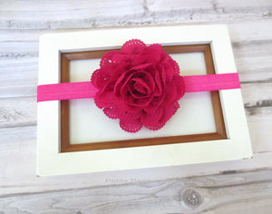 Hot Pink Eyelet Flower Headband