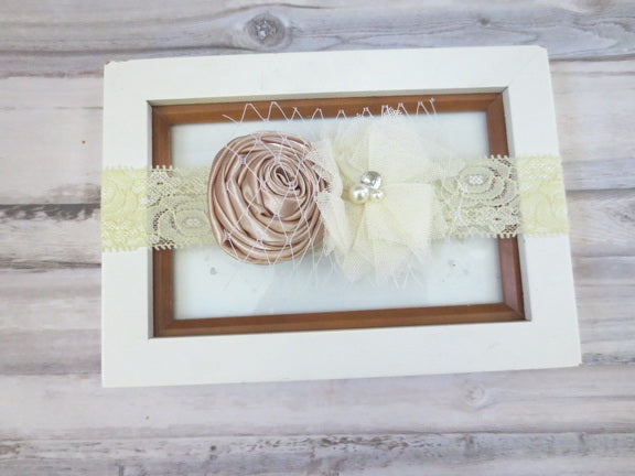 Ivory Flower Lace Headband