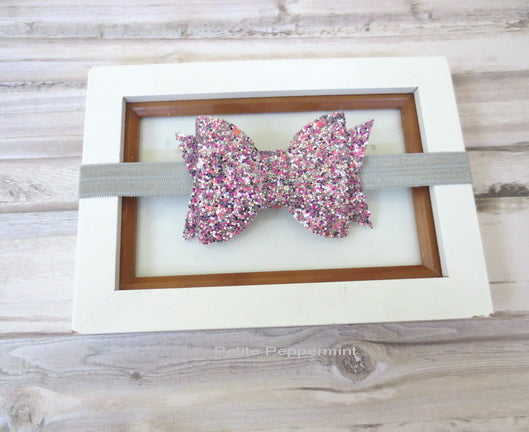 Sparkly Pink SIlver Bow Headband