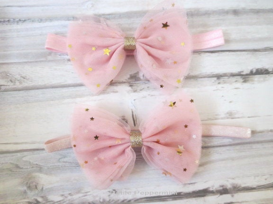 Pink with Gold Star Tulle Bow Headband
