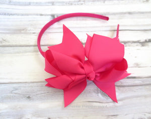 Hot Pink Bow Girl Head Band