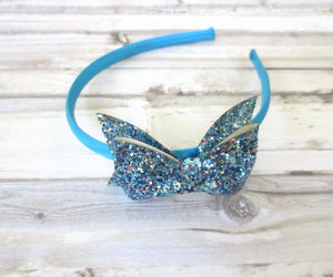 Sparkly Turquoise Bow Headband