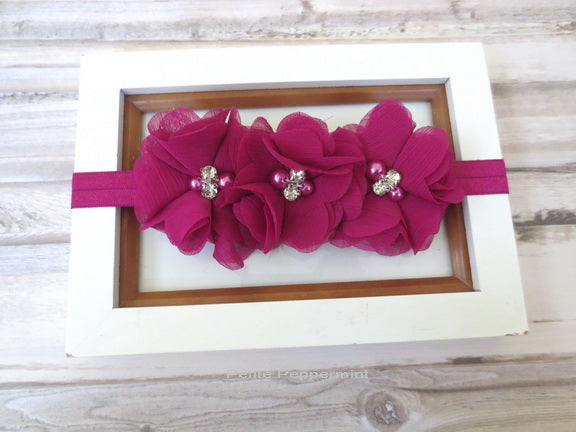 Fuschia Flower Headband