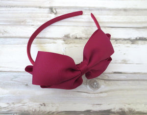 Burgundy Bow Headband