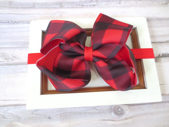 Red Buffalo Plaid Bow Headband