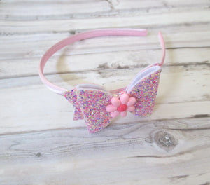 Sparkly Pink Bow Headband