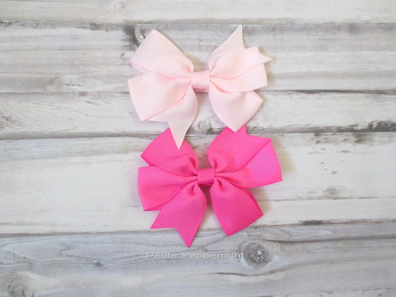 Hot Pink and Pink Bow Hair Clip