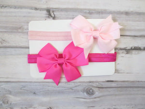 Set of Two Hot Pink and Pink Bow Headband