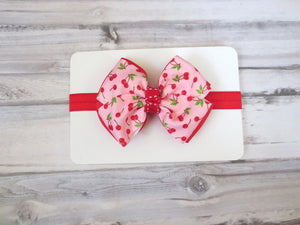 Red Cherry Bow Headband