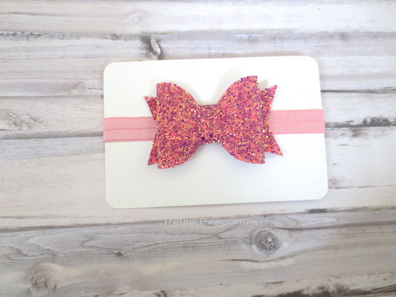 Pink Coral Sparkle Bow Headband