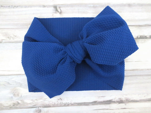 Royal Blue Knotted Bow Head Wrap