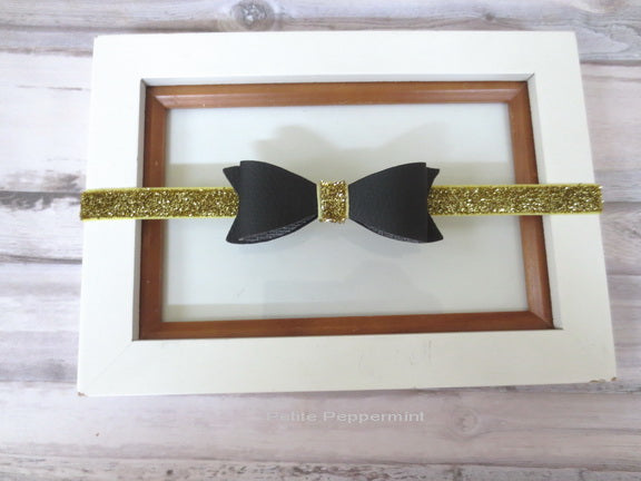 Black Bow on Sparkly Gold Headband
