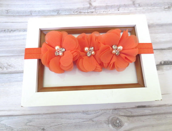 Orange Flower Baby Headband