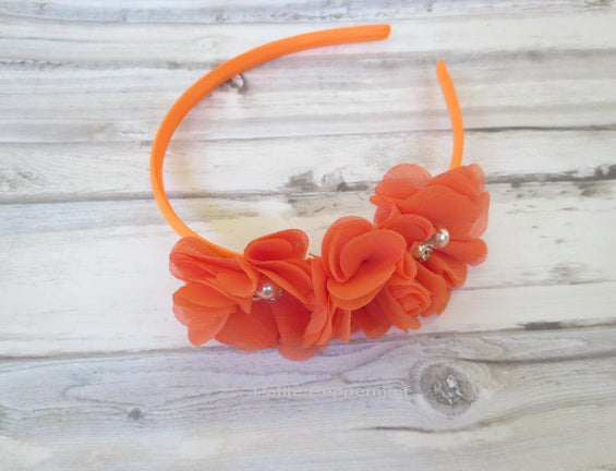 Orange Flower Girl Headband